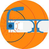 Google Glass Abstract Icon Illustration. Smart Tech Wearable Technology Gadget futuristic concept isolated . Transparent Stock Photos