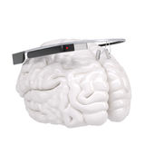 Google Glass and brain Stock Photo