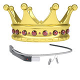 Google Glass and a golden crown Stock Images