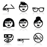 Google glass  icons set Stock Photography