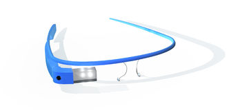 Google glass. Google interactive glass glasses, blue color resting on a white floor