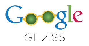 Google Glass sketch logotype. Google Glass logotype sketch with a pair of glasses with green binary code. Google Glass is a wearable computer smartphone with a Royalty Free Stock Photography