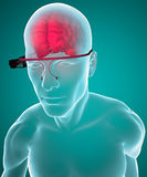 Google glasses interactive brain Royalty Free Stock Images