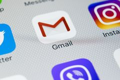 Google Gmail application icon on Apple iPhone 8 smartphone screen close-up. Gmail app icon. Gmail is the most popular Internet. Sankt-Petersburg, Russia Royalty Free Stock Photography