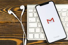 Google Gmail application icon on Apple iPhone X smartphone screen close-up. Gmail app icon. Gmail is popular Internet online e-ma. Sankt-Petersburg, Russia, June royalty free stock images