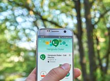 Google Hangouts Dialer app. MONTREAL, CANADA - MAY 23, 2016 : Google Hangouts Dialer application on Samsung S7 screen. Hangouts Dialer -allows to make voice royalty free stock photo