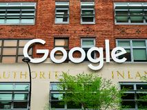 Google headquarter Building sign logo in Manhattan New York. New York City, USA - May 2018: Google headquarter Building sign logo in Manhattan royalty free stock photo