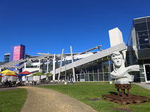 Google Headquarters. Scenic view of Google Headquarters with a statue of Lloyd Bridges in the foreground, Mountain View, California, U.S.A Stock Image