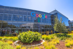 Google headquarters Sign. Mountain View, California, USA - August 15, 2016: Google sign on one of the Google buildings. Exterior view of a Google headquarters Royalty Free Stock Photography