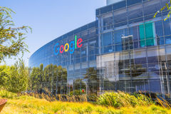 Google headquarters Sign. Mountain View, California, USA - August 15, 2016: Google sign on one of the Google buildings. Exterior view of a Google headquarters Stock Photography