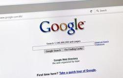 Google het onderzoekspagina van de 2001 éénjarigenstijl Stock Fotografie