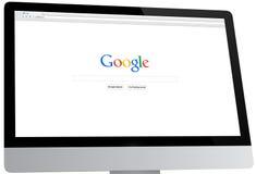Google-Homepage op een Bureaucomputer stock fotografie