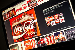 Google image search for Coca cola logo photos on PC screen Stock Photos