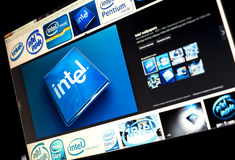 Google image search for Intel logo photos on PC screen Royalty Free Stock Images