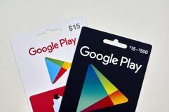 Google jouent à des cartes cadeaux Image stock