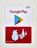 Google jouent à des cartes cadeaux Photo stock