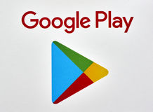 Google juega el logotipo impreso en un Libro Blanco Imagen de archivo
