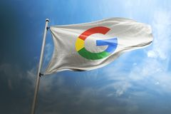 Google photorealistic flag editorial stock photo