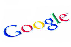 Google logo. On internet over white stock photography