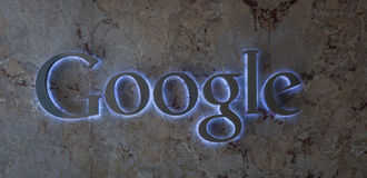 Google logo. Backlit marble plate Royalty Free Stock Photo