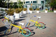Google logo colored bikes at Googleplex Royalty Free Stock Image
