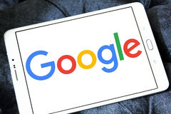 Google logo. Google company logo and vector on samsung tablet royalty free stock photos
