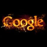 Google Logo on Fire Stock Photo