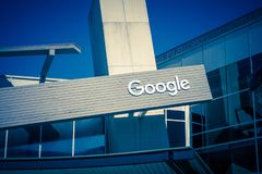 Google logo at Googleplex headquarters main office. Mountain View, USA - September 25, 2018: Google logo at Googleplex headquarters main office royalty free stock photography