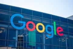 Google logo at Googleplex headquarters main office. Mountain View, USA - September 25, 2018: Google logo at Googleplex headquarters main office stock image