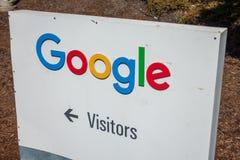 Google logo at Googleplex headquarters main office. Mountain View, USA - September 25, 2018: Google logo at Googleplex headquarters main office stock photos
