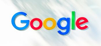 Google logo isolated. Mountain View, California, USA - August 13, 2018: Google logo isolated from a Google headquarters sign. Google technology leader in royalty free stock image