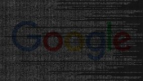 Google logo made of source code on computer screen. Editorial loopable animation