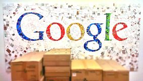 Google logo. A mosaic of images generates a Google logo. Blur effect applied, this is a mobile photo