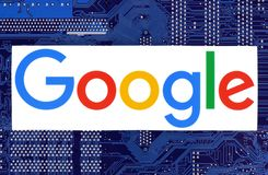 Google logo placed on circuit board royalty free stock image