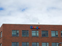 Google Logo on Side of Building Stock Image
