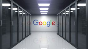Google logo on the wall of the server room. Editorial 3D animation
