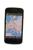Google maps on Android based device Stock Photo