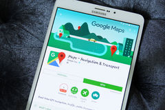 Google maps app. Lication on google play store on samsung tab s2 stock image