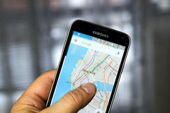 Google maps app. Stock Photography
