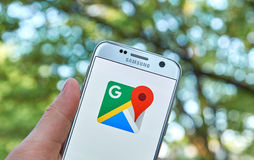 Google Maps app. MONTREAL, CANADA - MAY 23, 2016 : Google Maps application on Samsung S7 screen. Google Maps is a free online map from Google Royalty Free Stock Images