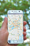 Google Maps app. MONTREAL, CANADA - MAY 23, 2016 : Google Maps application on Samsung S7 screen. The Google Maps app is a popular gps navigation software royalty free stock photography