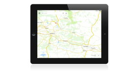 Google maps application on Apple iPad Stock Photo