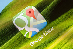 Google Maps Application. BUCHAREST, ROMANIA - JUNE 07, 2014: Google Maps Application On Apple iPhone 5S. Is a mobile web mapping service application offering Royalty Free Stock Image
