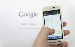 Google maps application Stock Photography
