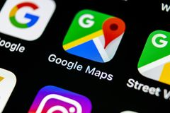 Google Maps application icon on Apple iPhone X screen close-up. Google Maps icon. Google maps application. Social media network. Sankt-Petersburg, Russia, May10 royalty free stock images