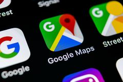 Google Maps application icon on Apple iPhone X screen close-up. Google Maps icon. Google maps application. Social media network stock photos