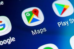 Google Maps application icon on Samsung Galaxy S9 screen close-up. Google Maps icon. Google maps application. Social media network royalty free stock photos