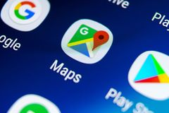 Google Maps application icon on Samsung Galaxy S9 screen close-up. Google Maps icon. Google maps application. Social media network royalty free stock images