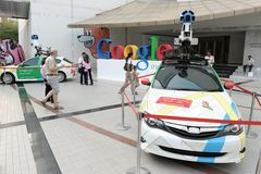 Google Maps Cars on Show in Bangkok. Google Maps cars on view in central Bangkok as the internet giant announces the Thai capital has been added to its Street stock image