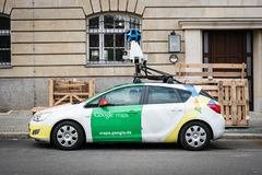 Google maps / Google Street view car with 360° camera. Berlin, Germany - September 27, 2017: The Google maps / Google Street view car with 360° camera on stock images